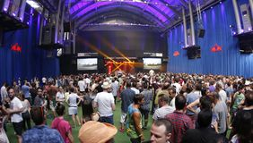 Sonar day scenery wide view with public dancing. Festivalgoers dance and enjoy during the second day of the 2015 Sonar night advanced music festival held in stock images