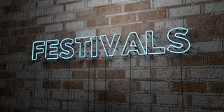 FESTIVALS - Glowing Neon Sign on stonework wall - 3D rendered royalty free stock illustration Royalty Free Stock Images