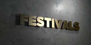 Festivals - Gold text on black background - 3D rendered royalty free stock picture. This image can be used for an online website banner ad or a print postcard Royalty Free Stock Photos