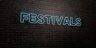 FESTIVALS -Realistic Neon Sign on Brick Wall background - 3D rendered royalty free stock image Royalty Free Stock Photos