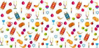 Festivalsymbole Shana Tova-Rüttler Rosh Hashanah jüdischer Feiertag Stock Abbildung
