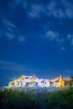 Festivaltält på natten Royaltyfri Foto