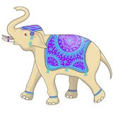 Festivalvektorillustration des indischen Elefanten Getrennt auf wei?em Hintergrund lizenzfreie abbildung