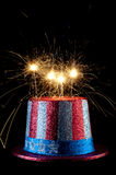 A festive 4th of July hat with sparklers
