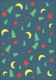 Festive abstract background for wrapping paper. Festive abstract background with stars,moons and Christmas Trees Stock Photography