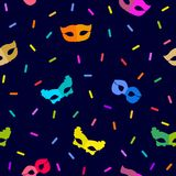 Festive abstract carnival background. Seamless vector pattern with masks and serpentine Royalty Free Stock Photos