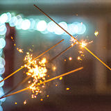 Festive abstract sparklers lit up for celebration Stock Image
