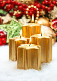 Festive advent decoration with four burning candles Royalty Free Stock Photo