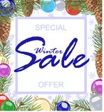 Festive advertisement for winter sales with special offer.. Advertising poster, announcing winter sales, decorated with festive balls, fir cones and branches Royalty Free Stock Images