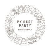 Festive agency is my best party. Party symbols for children and adults. Stock Images