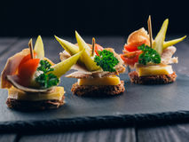 Festive Appetizer with Bread and Meat Royalty Free Stock Photography