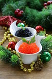 Festive appetizer delicacy red and black caviar Stock Images