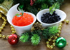 Festive appetizer delicacy red and black caviar. Christmas Still Life royalty free stock photography