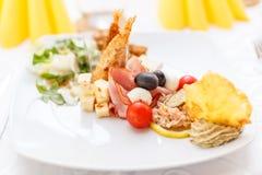 Festive appetizer plate. Elegant wedding or festive appetizer plate Royalty Free Stock Images