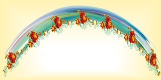 Festive arch of the rainbow made of watercolor spots, leaves and. Orange flowers of marigolds on a yellow background, in vector Royalty Free Stock Images