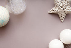 Festive arrangement of christmas decorations from overhead. With neutral colours Royalty Free Stock Photography