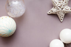 Festive arrangement of christmas decorations from overhead. With neutral colours Stock Photography