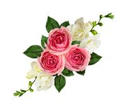 Festive arrangement with pink roses and freesia flowers. Isolated on white. Top view. Flat lay Royalty Free Stock Images