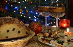 Festive atmosphere and cake stock images