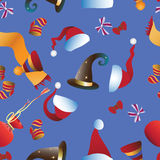 Festive attributes. Christmas. Seamless pattern. Design for textiles, packaging, wall tapestries Stock Images