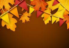 Autumn background with flags and leaves. Festive autumn background with leaves and flags. Vector illustration.r Royalty Free Stock Images