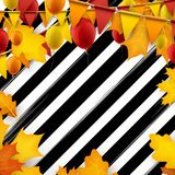 Festive autumn striped background. Festive autumn striped background with balloons and flags. Vector illustration Stock Images