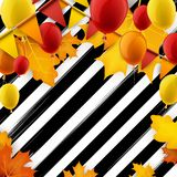 Festive autumn striped background. Festive autumn striped background with balloons and flags. Vector illustration Stock Photos