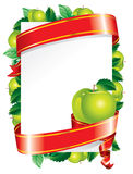 Festive background (). Festive background with a green apple and red ribbon Stock Photos