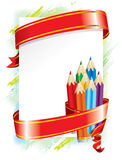 Festive background (). Festive background with with colored pencils and red ribbon Stock Photo