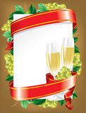 Festive background (). Festive background with a glass of wine and a red ribbon Stock Image