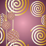 Festive background. With golden spiral and festive ball Royalty Free Stock Photo