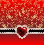 Festive background. With a brooch Valentine's Day Stock Images