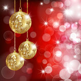 Festive background. With three disco balls and glares. Vector Stock Photo
