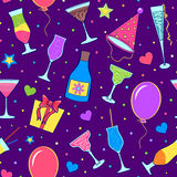 Festive background. Illustration of colorful seamless with different cocktails Stock Images
