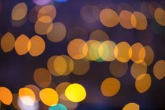 Festive background with abstract blue circular bokeh background, city lights stock images
