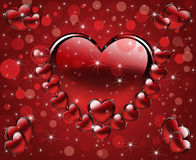 Festive background. Abstract illustration with red different hearts Royalty Free Stock Photos