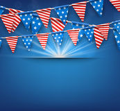 Festive background with American flags. Blue USA Independence Day background with American flags. Vector illustration Stock Images