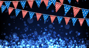 Festive background with American flags. Blue USA Independence Day background with American flags. Vector illustration Royalty Free Stock Photos