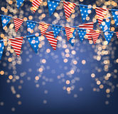 Festive background with American flags. Bokeh USA Independence Day background with American flags. Vector illustration Stock Photo