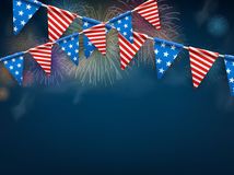 Festive background with American flags. USA Independence Day background with American flags and fireworks. Vector illustration Royalty Free Stock Image