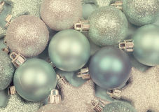 Festive background of aqua pale blue christmas ornaments Stock Image