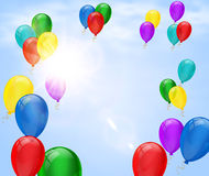 Festive background with balloon and sun flare in cloudy sky. Poster or placard for birthday, festival, opening or other event design. Summer bright holiday Stock Images