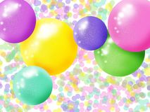 Festive background of balloons and colored spheres and confetti vector illustration