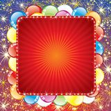 Festive Background with Balloons and Firework. Vector with Space for Text Royalty Free Stock Photography