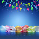 Festive background. With balloons and flags on blue background Royalty Free Stock Images