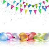 Festive background. With balloons and flags on a white background Stock Images