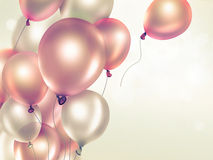 Festive background with balloons. Festive light background with orange balloons full screen Stock Photo