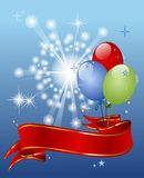 Festive background with balloons. Red ribbon entwined Royalty Free Stock Photo
