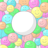 Festive background with balloons and smiles. Festive background with multicolored balloons with smiling faces and big white balloon in the center with place for Stock Photos