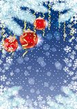 Festive background with balls. Festive background with balls and snowflakes on a blue background Royalty Free Stock Photos